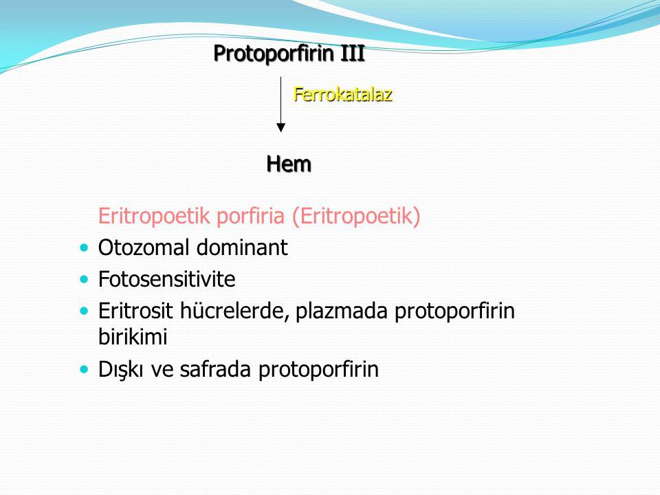 Eritropoetik porfiria (Eritropoetik) Otozomal dominant Fotosensitivite