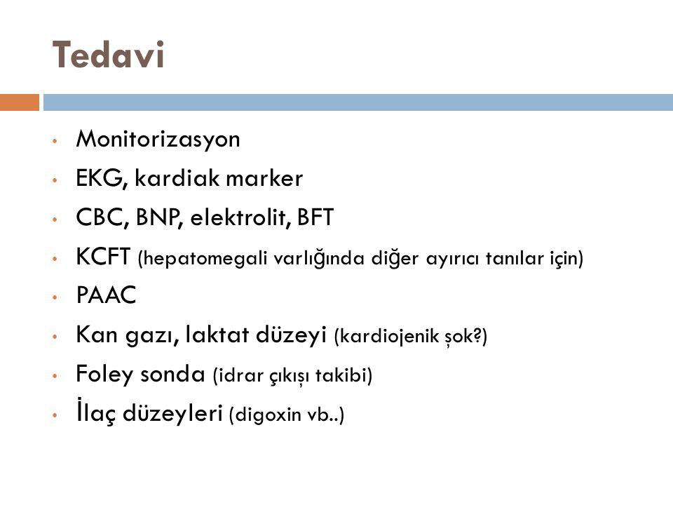 Tedavi Monitorizasyon EKG, kardiak marker CBC, BNP, elektrolit, BFT