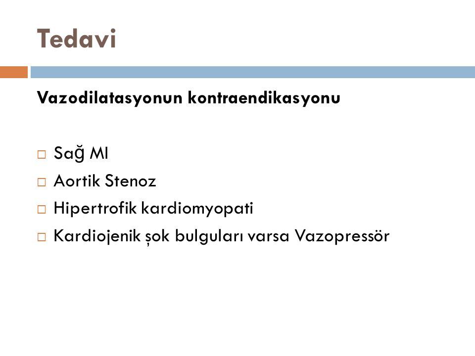 Tedavi Vazodilatasyonun kontraendikasyonu Sağ MI Aortik Stenoz