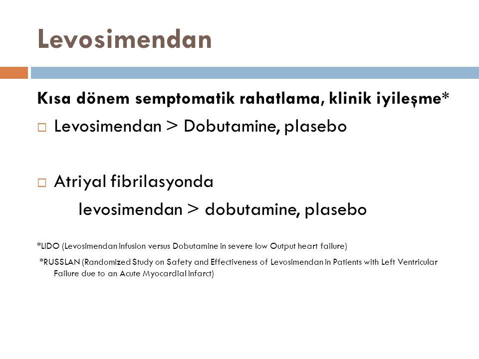 Levosimendan Levosimendan > Dobutamine, plasebo