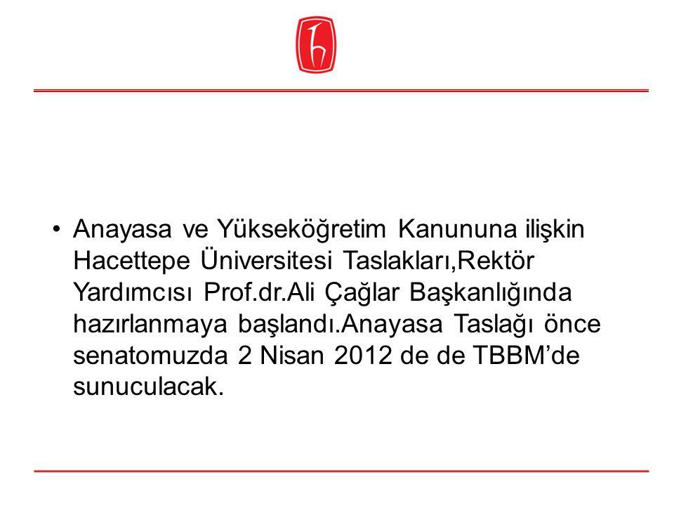 Anayasa ve Yükseköğretim Kanununa ilişkin Hacettepe Üniversitesi Taslakları,Rektör Yardımcısı Prof.dr.Ali Çağlar Başkanlığında hazırlanmaya başlandı.Anayasa Taslağı önce senatomuzda 2 Nisan 2012 de de TBBM'de sunuculacak.