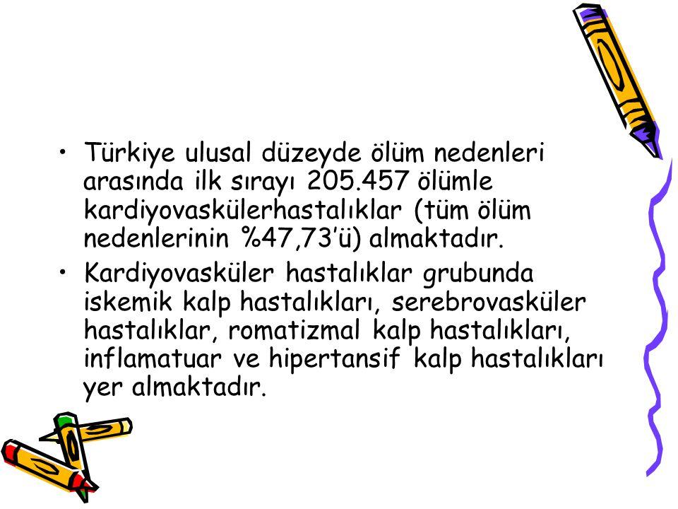 Türkiye ulusal düzeyde ölüm nedenleri arasında ilk sırayı 205