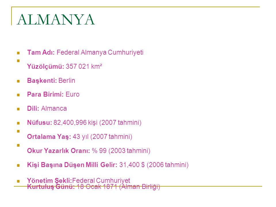 ALMANYA Tam Adı: Federal Almanya Cumhuriyeti Yüzölçümü: 357 021 km²
