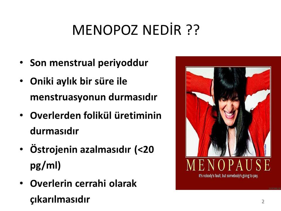 MENOPOZ NEDİR Son menstrual periyoddur