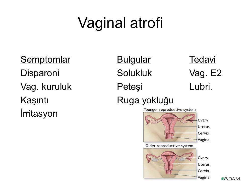Vaginal atrofi Semptomlar Bulgular Tedavi Disparoni Solukluk Vag.