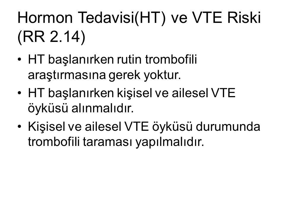 Hormon Tedavisi(HT) ve VTE Riski (RR 2.14)