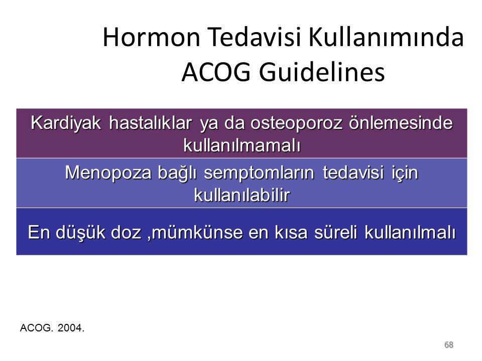 Hormon Tedavisi Kullanımında ACOG Guidelines