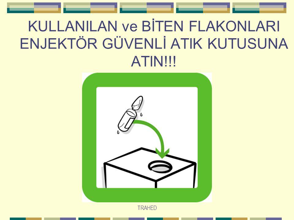 KULLANILAN ve BİTEN FLAKONLARI ENJEKTÖR GÜVENLİ ATIK KUTUSUNA ATIN!!!