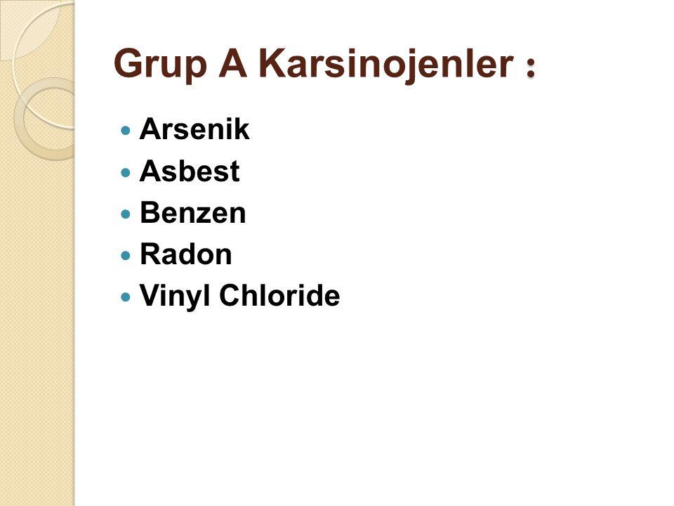 Grup A Karsinojenler : Arsenik Asbest Benzen Radon Vinyl Chloride