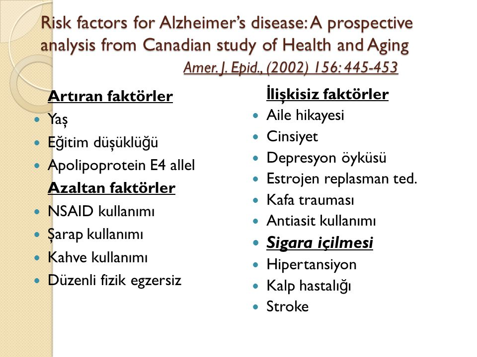 Risk factors for Alzheimer's disease: A prospective analysis from Canadian study of Health and Aging Amer. J. Epid., (2002) 156: 445-453