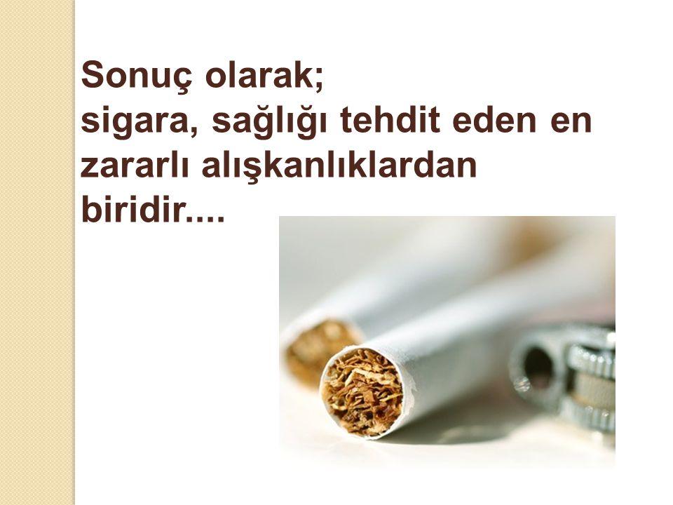 Sonuç olarak; sigara, sağlığı tehdit eden en zararlı alışkanlıklardan biridir....