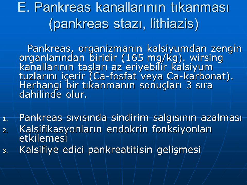 E. Pankreas kanallarının tıkanması (pankreas stazı, lithiazis)