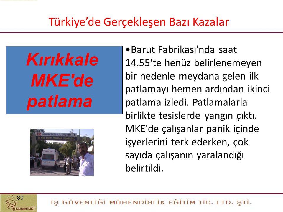 Kırıkkale MKE de patlama 30 Türkiye'de Gerçekleşen Bazı Kazalar