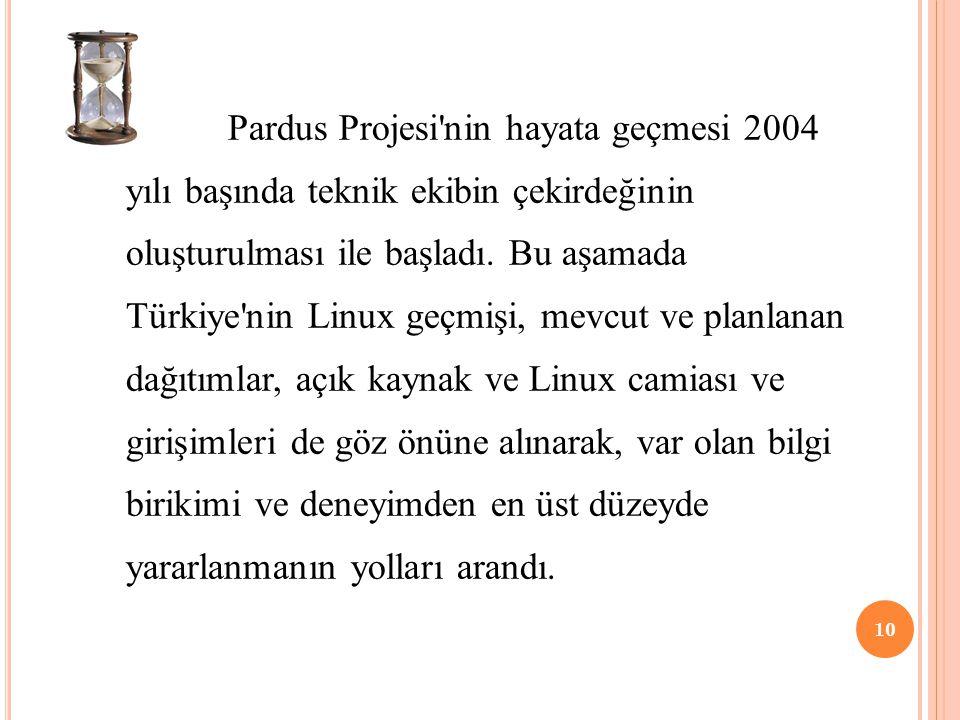 Pardus Projesi nin hayata geçmesi 2004 yılı başında teknik ekibin çekirdeğinin oluşturulması ile başladı.