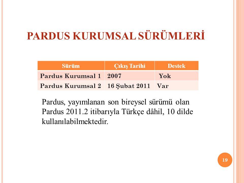 PARDUS KURUMSAL SÜRÜMLERİ