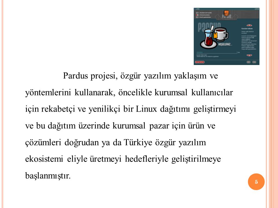 Pardus projesi, özgür yazılım yaklaşım ve yöntemlerini kullanarak, öncelikle kurumsal kullanıcılar için rekabetçi ve yenilikçi bir Linux dağıtımı geliştirmeyi ve bu dağıtım üzerinde kurumsal pazar için ürün ve çözümleri doğrudan ya da Türkiye özgür yazılım ekosistemi eliyle üretmeyi hedefleriyle geliştirilmeye başlanmıştır.