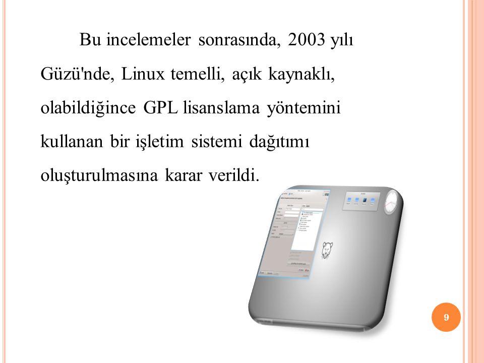 Bu incelemeler sonrasında, 2003 yılı Güzü nde, Linux temelli, açık kaynaklı, olabildiğince GPL lisanslama yöntemini kullanan bir işletim sistemi dağıtımı oluşturulmasına karar verildi.