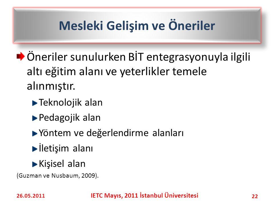 Mesleki Gelişim ve Öneriler IETC Mayıs, 2011 İstanbul Üniversitesi