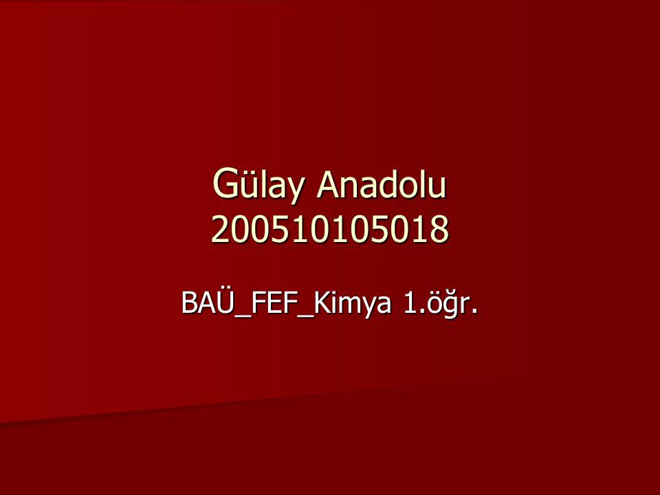 Gülay Anadolu 200510105018 BAÜ_FEF_Kimya 1.öğr.