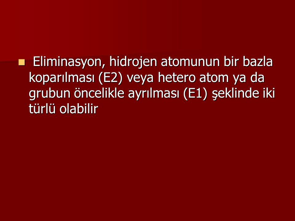 Eliminasyon, hidrojen atomunun bir bazla koparılması (E2) veya hetero atom ya da grubun öncelikle ayrılması (E1) şeklinde iki türlü olabilir