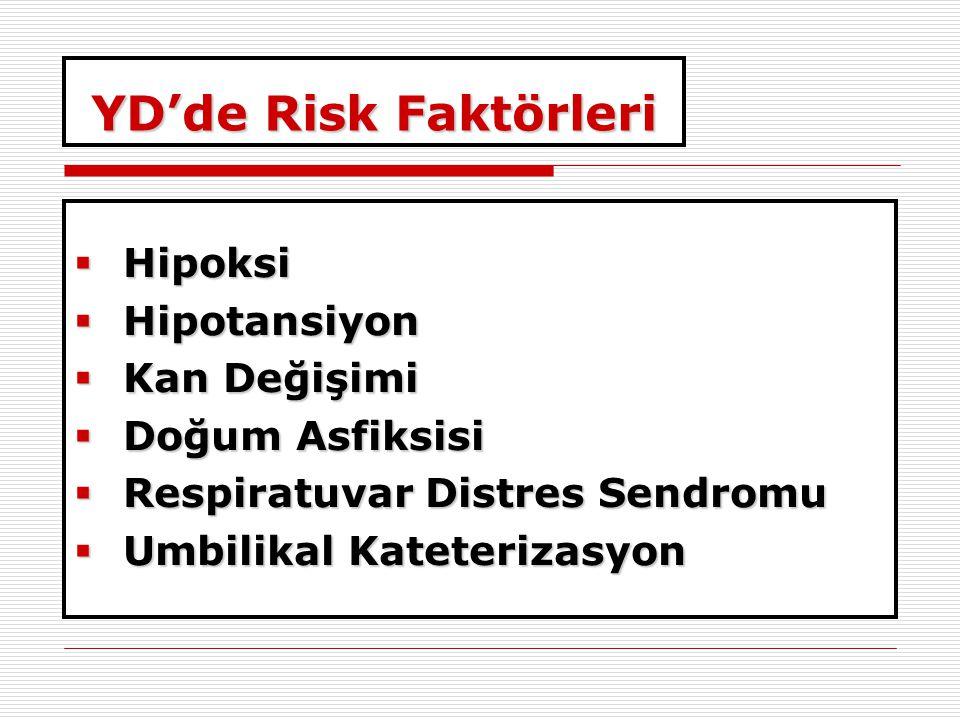 YD'de Risk Faktörleri Hipoksi Hipotansiyon Kan Değişimi