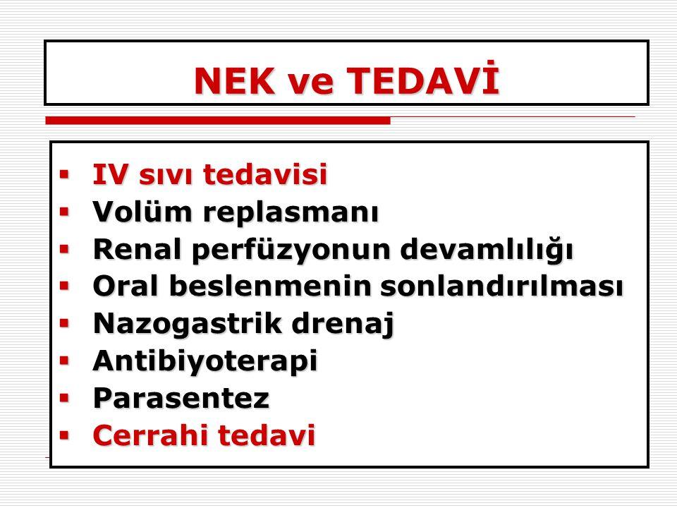 NEK ve TEDAVİ IV sıvı tedavisi Volüm replasmanı