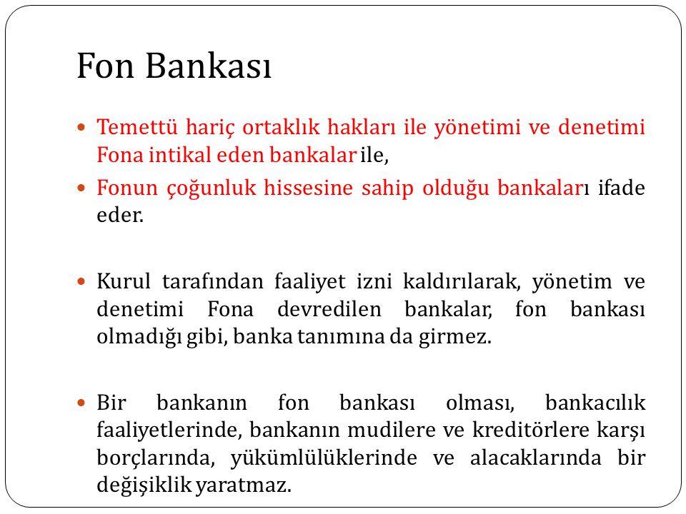 Fon Bankası Temettü hariç ortaklık hakları ile yönetimi ve denetimi Fona intikal eden bankalar ile,