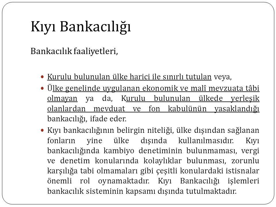 Kıyı Bankacılığı Bankacılık faaliyetleri,