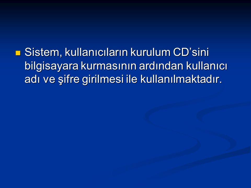 Sistem, kullanıcıların kurulum CD'sini bilgisayara kurmasının ardından kullanıcı adı ve şifre girilmesi ile kullanılmaktadır.
