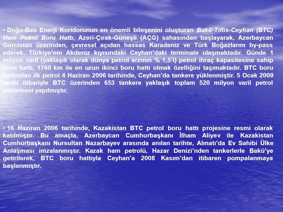 Doğu-Batı Enerji Koridorunun en önemli bileşenini oluşturan Bakü-Tiflis-Ceyhan (BTC) Ham Petrol Boru Hattı, Azeri-Çırak-Güneşli (AÇG) sahasından başlayarak, Azerbaycan Gürcistan üzerinden, çevresel açıdan hassas Karadeniz ve Türk Boğazlarını by-pass ederek, Türkiye'nin Akdeniz kıyısındaki Ceyhan'daki terminale ulaşmaktadır. Günde 1 milyon varil (yaklaşık olarak dünya petrol arzının % 1,5'i) petrol ihraç kapasitesine sahip boru hattı, 1760 km ile en uzun ikinci boru hattı olmak özelliğini taşımaktadır. BTC boru hattından ilk petrol 4 Haziran 2006 tarihinde, Ceyhan'da tankere yüklenmiştir. 5 Ocak 2009 tarihi itibariyle BTC üzerinden 653 tankere yaklaşık toplam 520 milyon varil petrol yüklemesi yapılmıştır.