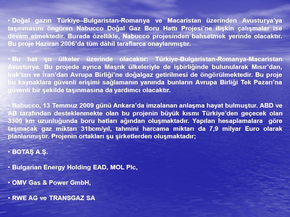 Doğal gazın Türkiye–Bulgaristan-Romanya ve Macaristan üzerinden Avusturya'ya taşınmasını öngören Nabucco Doğal Gaz Boru Hattı Projesi'ne ilişkin çalışmalar ise devam etmektedir. Burada özellikle, Nabucco projesinden bahsetmek yerinde olacaktır. Bu proje Haziran 2006'da tüm dâhil taraflarca onaylanmıştır.
