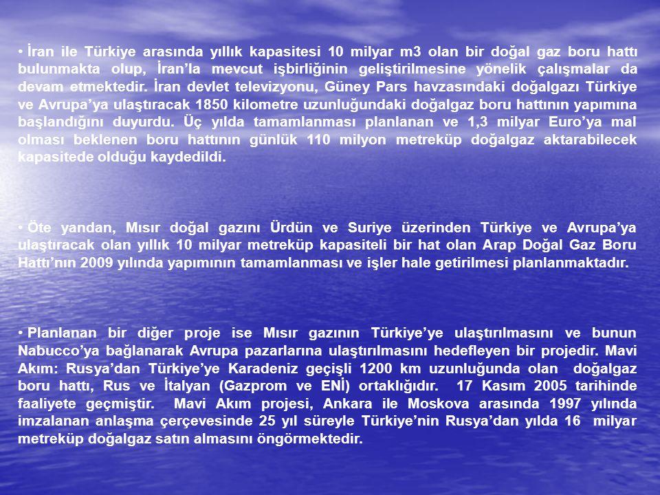İran ile Türkiye arasında yıllık kapasitesi 10 milyar m3 olan bir doğal gaz boru hattı bulunmakta olup, İran'la mevcut işbirliğinin geliştirilmesine yönelik çalışmalar da devam etmektedir. İran devlet televizyonu, Güney Pars havzasındaki doğalgazı Türkiye ve Avrupa'ya ulaştıracak 1850 kilometre uzunluğundaki doğalgaz boru hattının yapımına başlandığını duyurdu. Üç yılda tamamlanması planlanan ve 1,3 milyar Euro'ya mal olması beklenen boru hattının günlük 110 milyon metreküp doğalgaz aktarabilecek kapasitede olduğu kaydedildi.