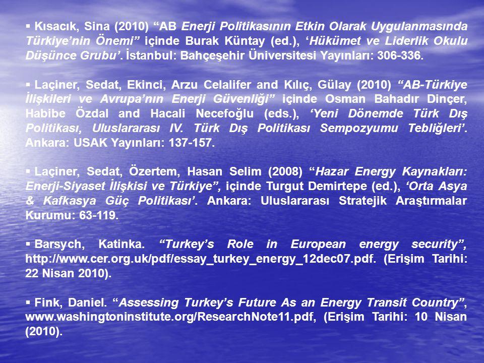 Kısacık, Sina (2010) AB Enerji Politikasının Etkin Olarak Uygulanmasında Türkiye'nin Önemi içinde Burak Küntay (ed.), 'Hükümet ve Liderlik Okulu Düşünce Grubu'. İstanbul: Bahçeşehir Üniversitesi Yayınları: 306-336.