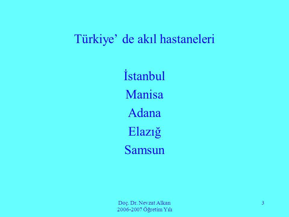 Türkiye' de akıl hastaneleri İstanbul Manisa Adana Elazığ Samsun