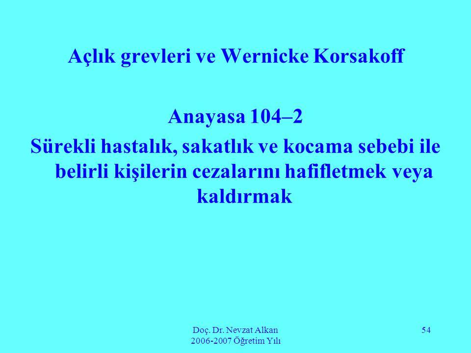 Açlık grevleri ve Wernicke Korsakoff