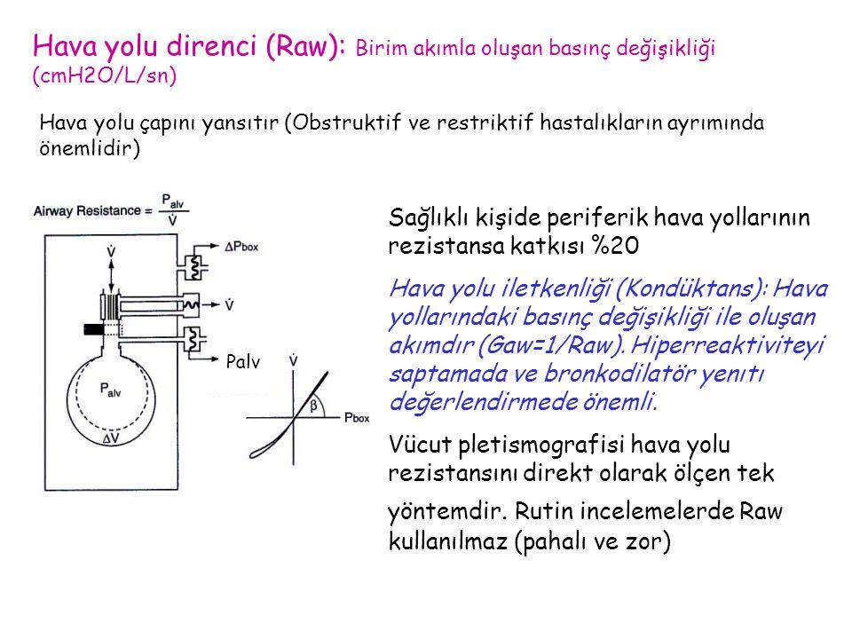 Hava yolu direnci (Raw): Birim akımla oluşan basınç değişikliği (cmH2O/L/sn)