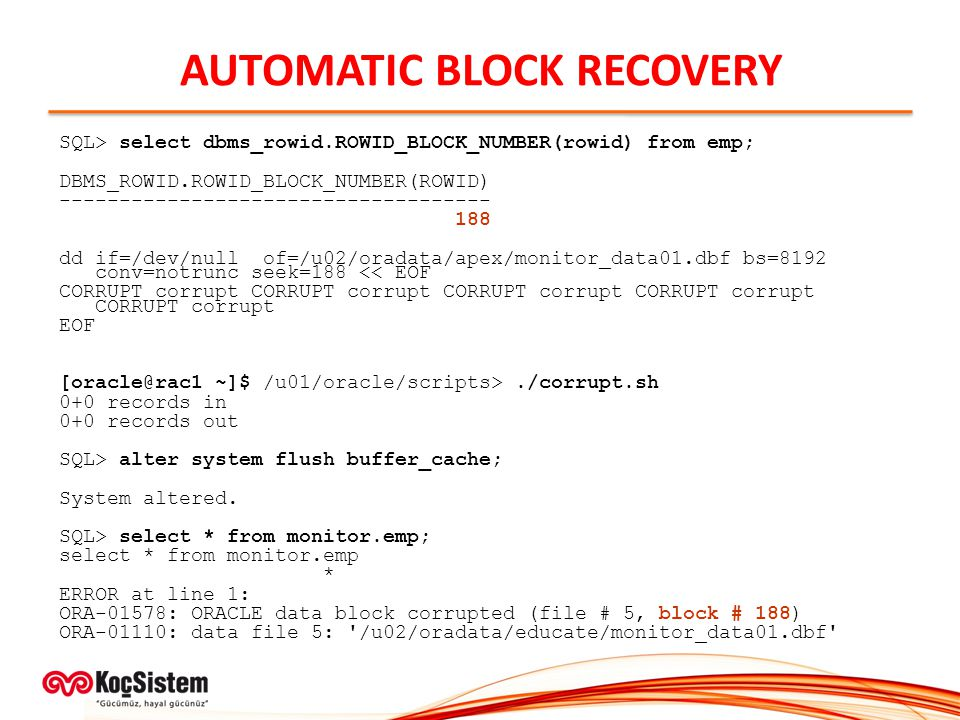 AUTOMATIC BLOCK RECOVERY