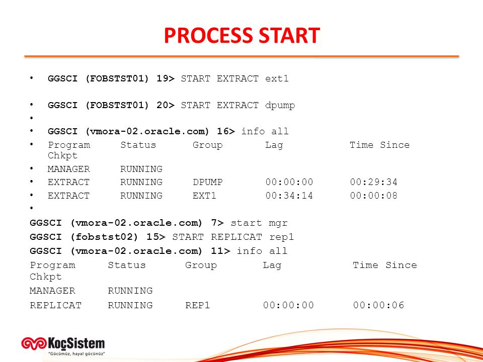PROCESS START GGSCI (vmora-02.oracle.com) 7> start mgr