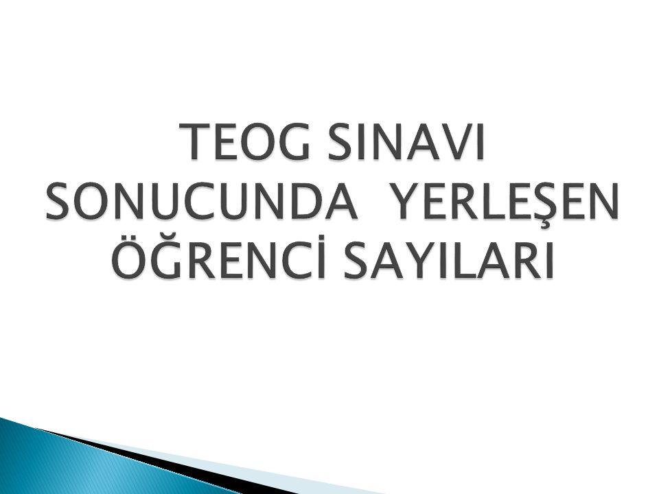 TEOG SINAVI SONUCUNDA YERLEŞEN ÖĞRENCİ SAYILARI