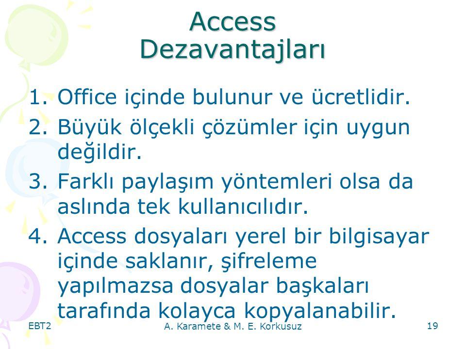 Access Dezavantajları