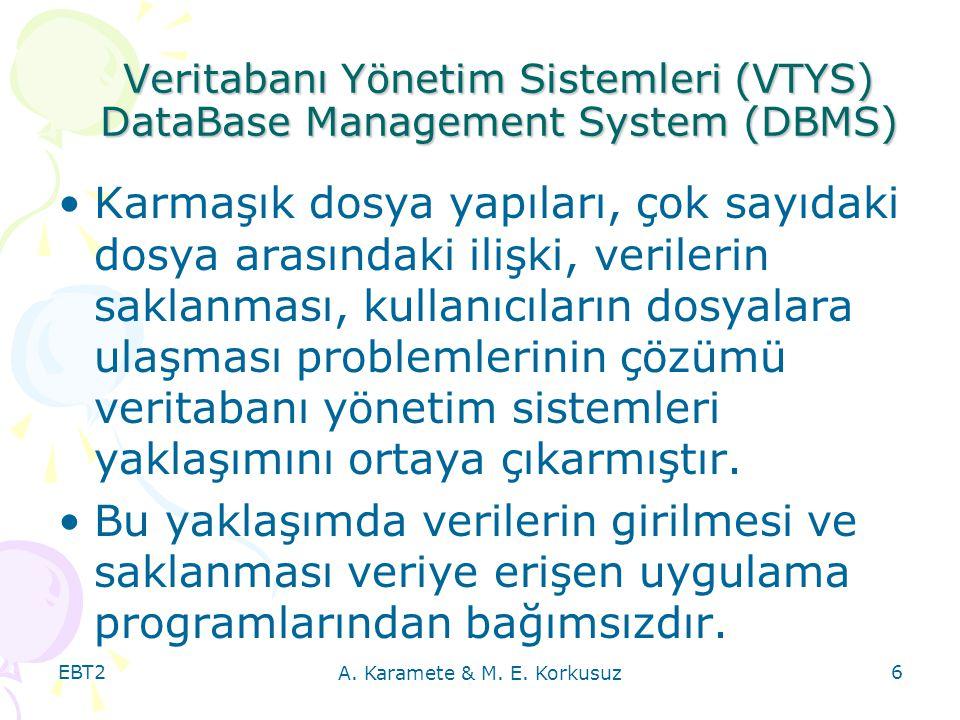 Veritabanı Yönetim Sistemleri (VTYS) DataBase Management System (DBMS)
