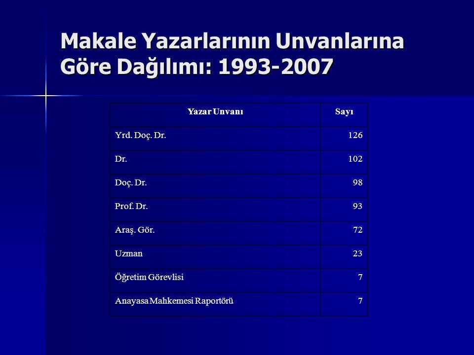 Makale Yazarlarının Unvanlarına Göre Dağılımı: 1993-2007