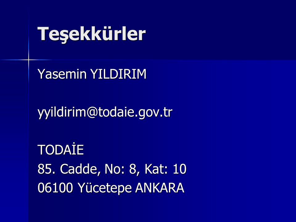 Teşekkürler Yasemin YILDIRIM yyildirim@todaie.gov.tr TODAİE