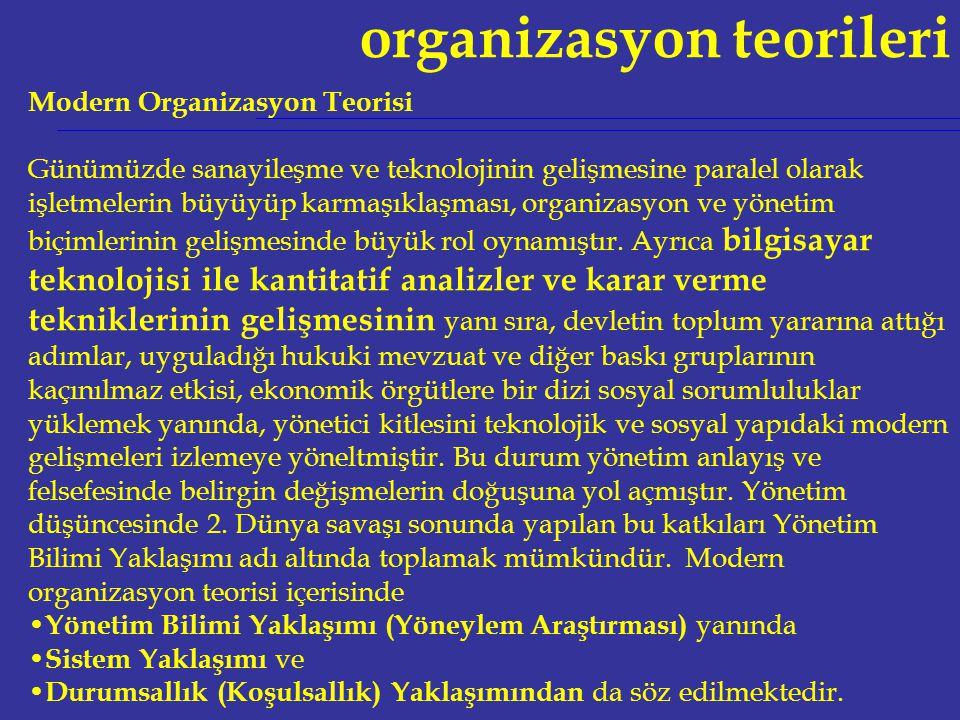 organizasyon teorileri