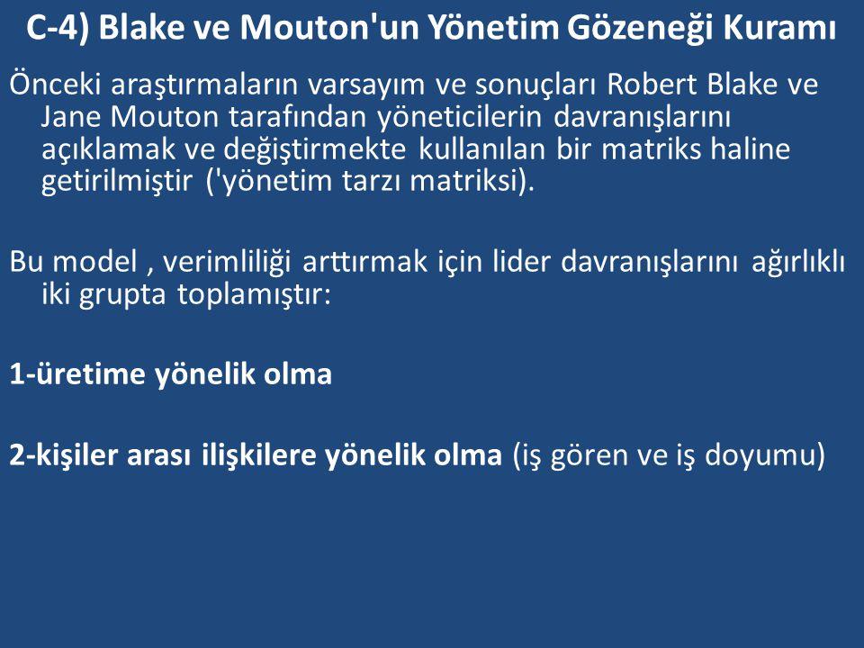 C-4) Blake ve Mouton un Yönetim Gözeneği Kuramı