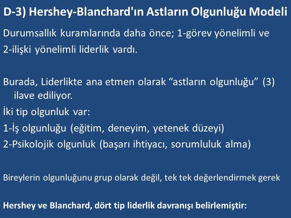 D-3) Hershey-Blanchard ın Astların Olgunluğu Modeli