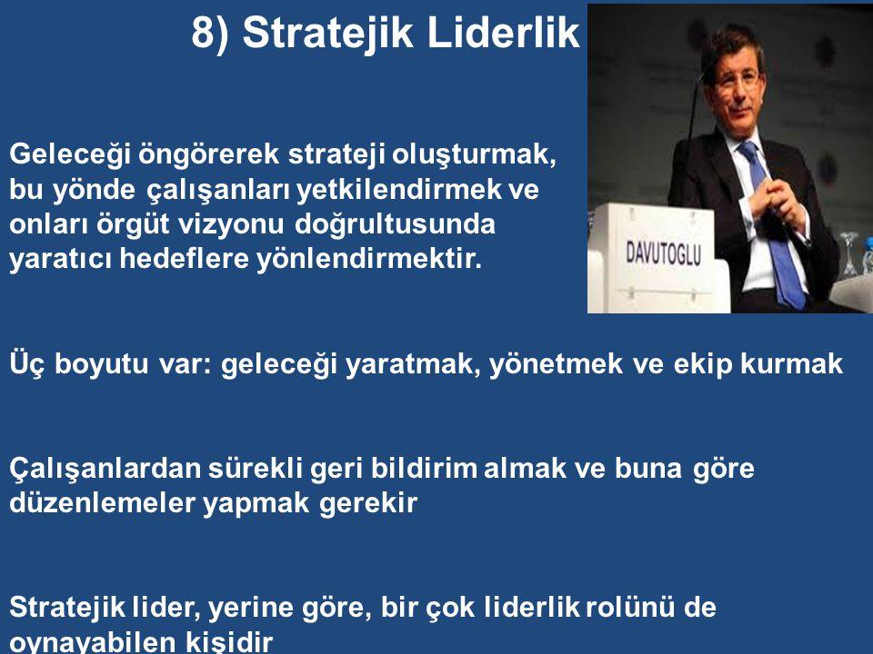 8) Stratejik Liderlik Geleceği öngörerek strateji oluşturmak,