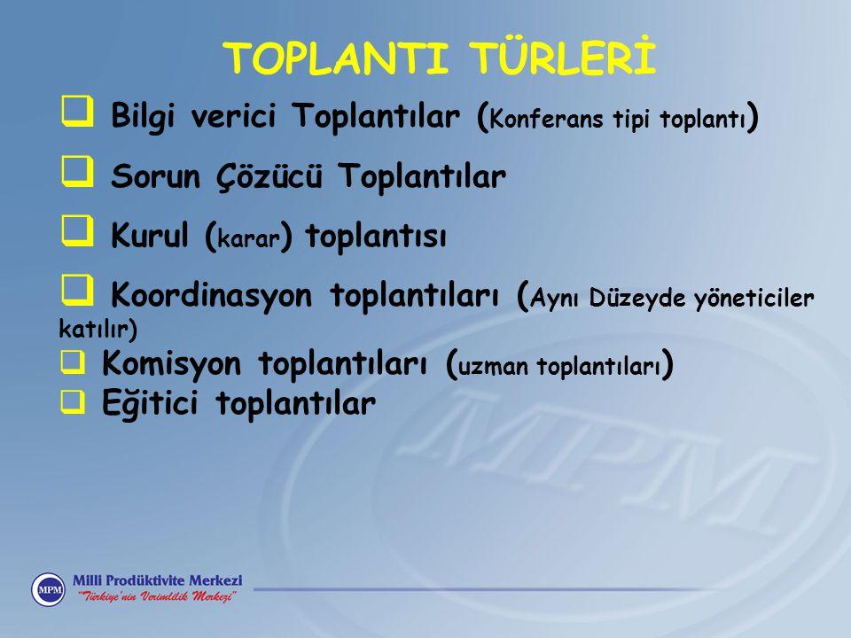 TOPLANTI TÜRLERİ Bilgi verici Toplantılar (Konferans tipi toplantı)