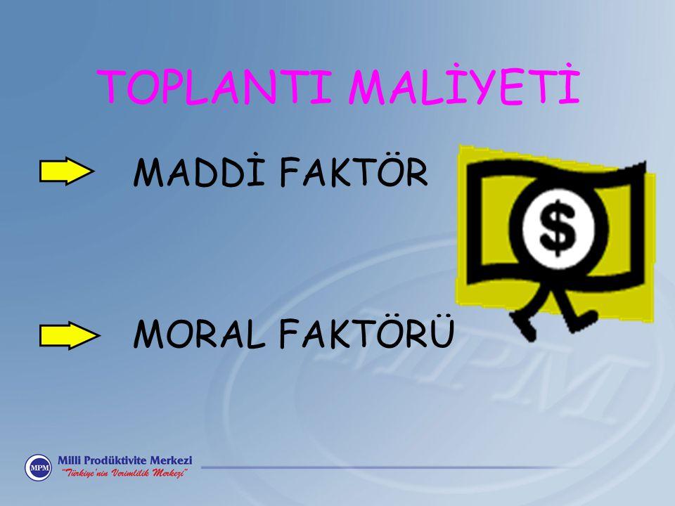 TOPLANTI MALİYETİ MADDİ FAKTÖR MORAL FAKTÖRÜ
