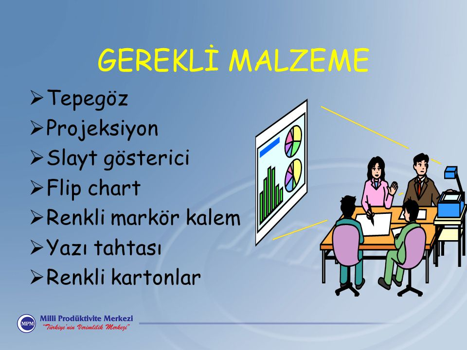 GEREKLİ MALZEME Tepegöz Projeksiyon Slayt gösterici Flip chart